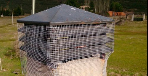 colocación de malla anti-pájaros en salida de chimene
